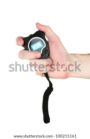 electronic sport timer in hand isolated on white