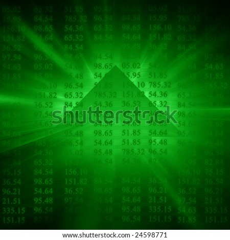 Electronic stock numbers and arrow going up - stock photo