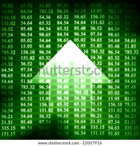 Electronic stock numbers and arrow on a green background - stock photo