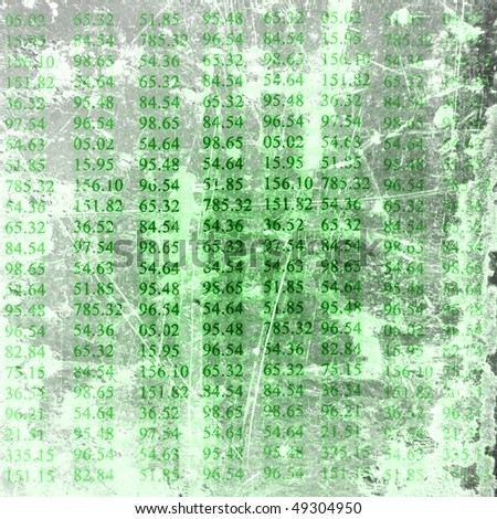 Electronic stock numbers on a soft green background - stock photo