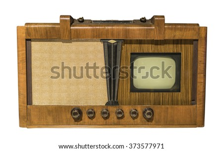 Electronic television. Production in 1948 .(Leningrad) Is isolated on white - stock photo