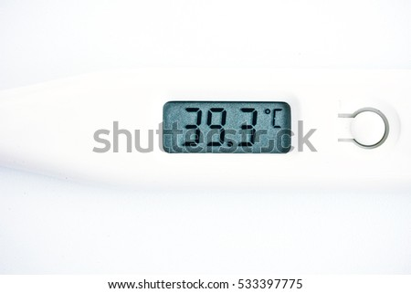 Electronic thermometer over white. Edgeless background. Macro view