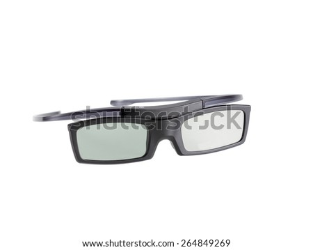 electronic three-D eyeglasses for LCD TV isolated on white background - stock photo