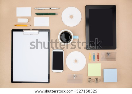 electronic tools in every day life, smart phone tablet Office Supply - stock photo