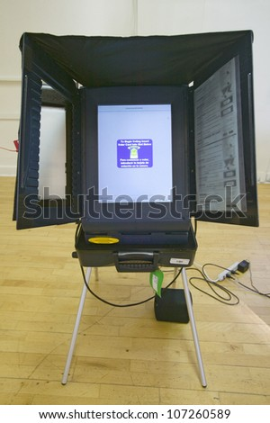 Electronic voting booth for blind during Congressional election, November 2006, in Ojai, Ventura County, California - stock photo