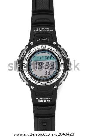 Electronic waterproof watch on a white background