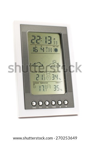 Electronic weather station isolated on the white background - stock photo