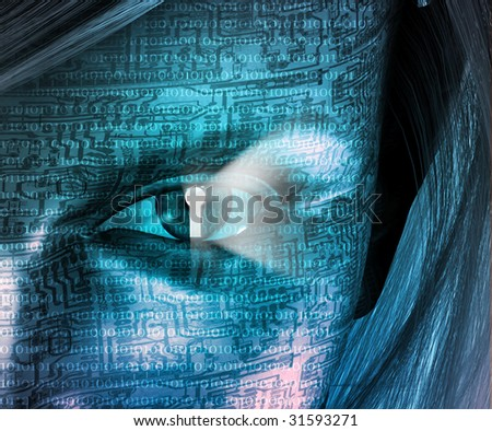 Electronic Woman with Key hole Eye - stock photo
