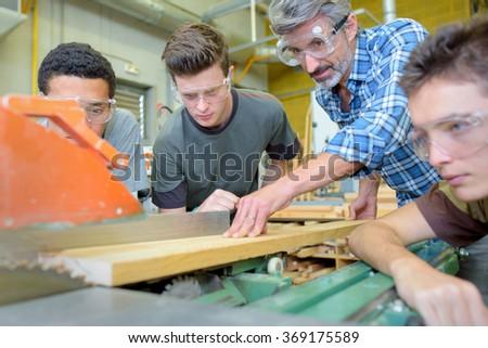 electronic wood cutting machine - stock photo