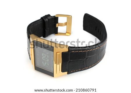 Electronic wristwatch on white background - stock photo
