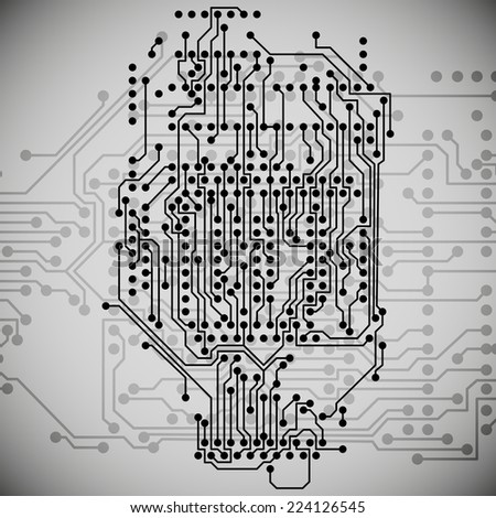 Electronics circuit, microchip background illustration. - stock photo