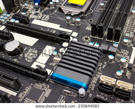 Electronics components on modern PC computer mainboard