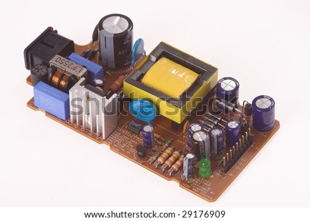 electronics components on white background - stock photo