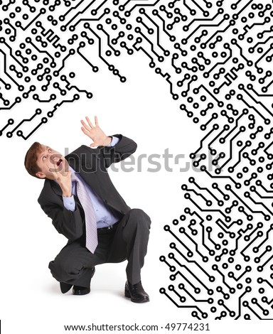 Electronics devour the frightened man on a white background - stock photo