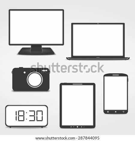 Electronics icons - stock photo