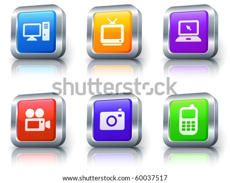 Electronics Icons on Square Button with Metallic Rim Collection Original Illustration - stock photo