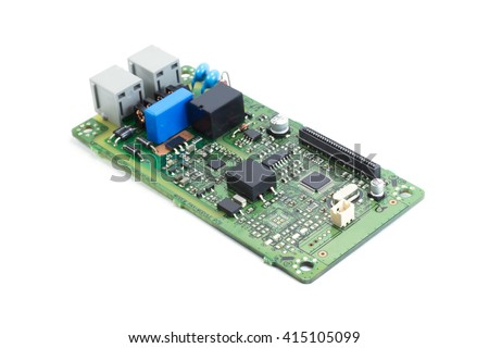 Electronics printed circuit board FAX circuit board - stock photo