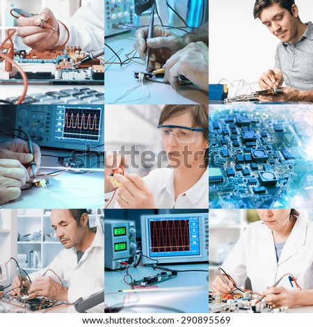 Electronics repair and assembly, workers and hands. Set of nine pictures for your website or leaflet