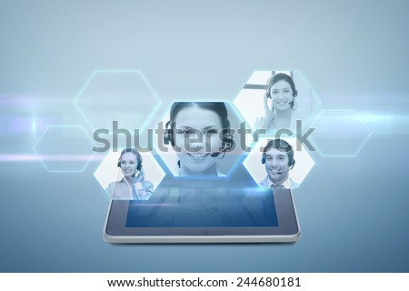 electronics, technology, network and modern gadget concept - tablet pc computer with virtual video chat icons projection above screen over blue background