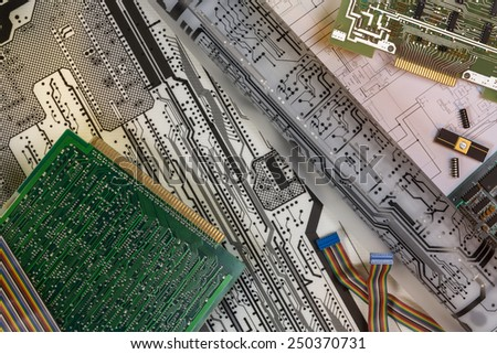 Electronics - The design of Printed Circuit Boards - stock photo