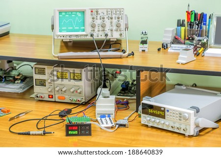 Electronics workshop - stock photo