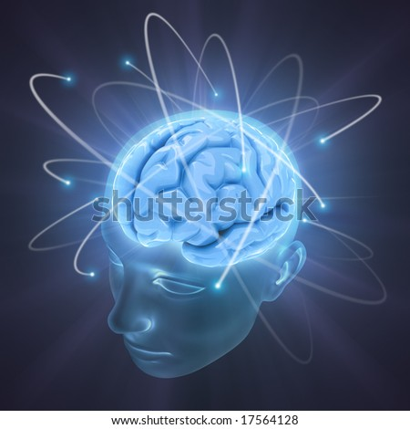 Electrons revolve around the brain. Concept of idea, the power of mind. - stock photo
