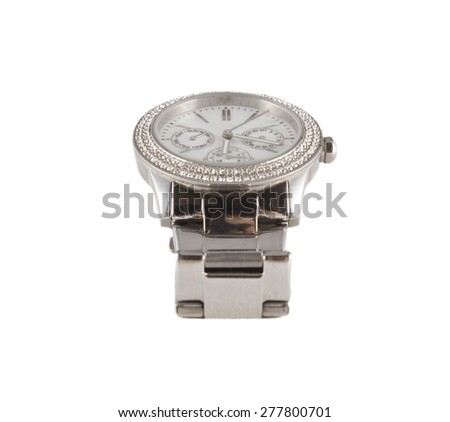 Elegance and beautiful wristwatch isolated on white background - stock photo