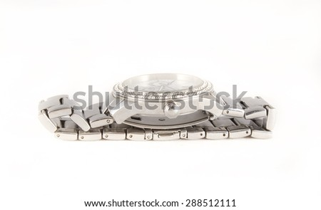 Elegance and beautiful wristwatch on white background - stock photo