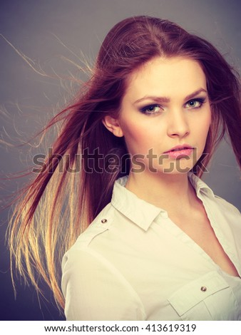 Elegance and business fashion style. Gorgeous attractive elegant woman portrait. Sexy businesswoman with long dark hair and perfect make up. - stock photo