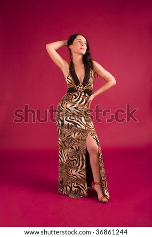 Elegance attractive woman dressed in beautiful clothes