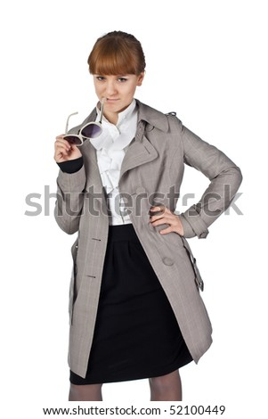 Elegance Businesswoman hold glasses - stock photo
