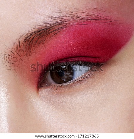 Elegance close-up of female eye red bright color eyeshadow. Macro shot of beautiful woman's face part. Wellness, cosmetics and make-up.