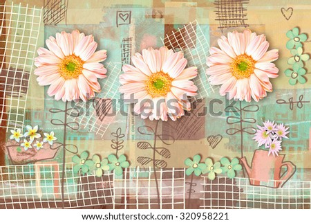 Elegance country postcard with beautiful pink gerbera flowers and watering can. Love floral pattern. Can be used as greeting card, invitation for wedding, birthday and other holiday. - stock photo