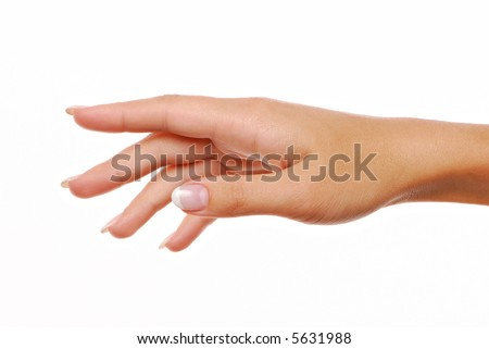 Elegance female hand. Right direction. Index finger