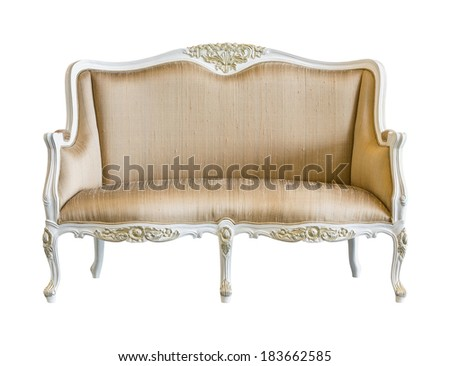 Elegance golden color cloth vintage chair isolated on white - with path
