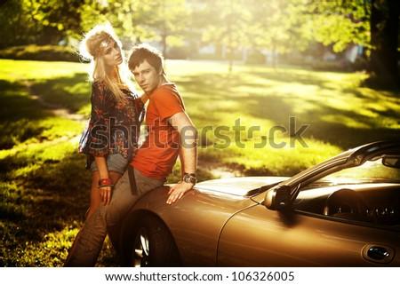 Elegance hippie couple - stock photo