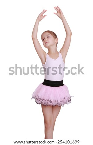 Elegance little girl express her feelings over dance - stock photo