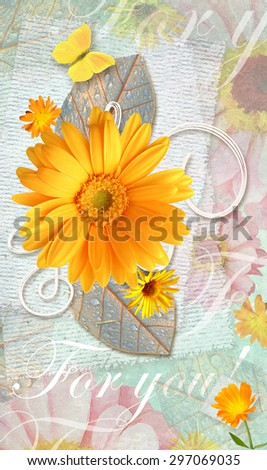 Elegance postcard with beautiful gerbera flowers and butterfly, realistic and stylized. Love floral pattern.Can be used as gift greeting card, invitation for wedding, birthday, other holiday happening - stock photo