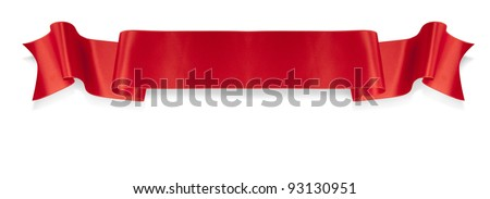 Elegance red ribbon banner with shadow - stock photo