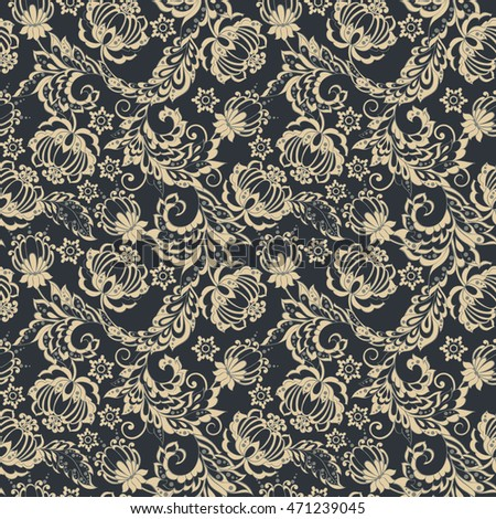 elegance seamless pattern with ethnic flowers and leaf, floral illustration in vintage style