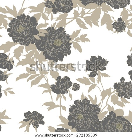 Elegance Seamless pattern with flowers poppies, floral illustration in vintage style - stock photo