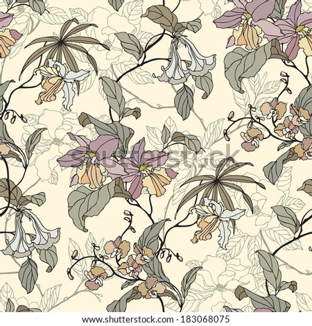 Elegance Seamless pattern with orchid flowers, floral illustration in vintage style - stock photo