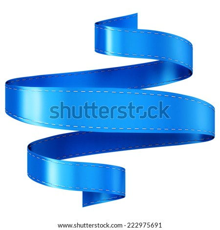 Elegance silk ribbon banner. Isolated on a white background. - stock photo