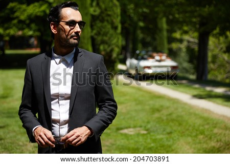 Elegance stylish and successful man at sunny day standing on background of his cabriolet classic car, lifestyle and successful business concept - stock photo