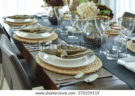 Elegance table setting for luxury dining time - stock photo