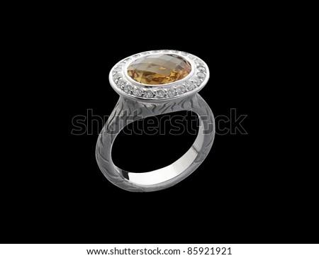Elegance Topaz ring decorates by diamonds isolated  - stock photo