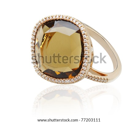 Elegance topaz ring, the art of the handmade jewelry isolated on white - stock photo