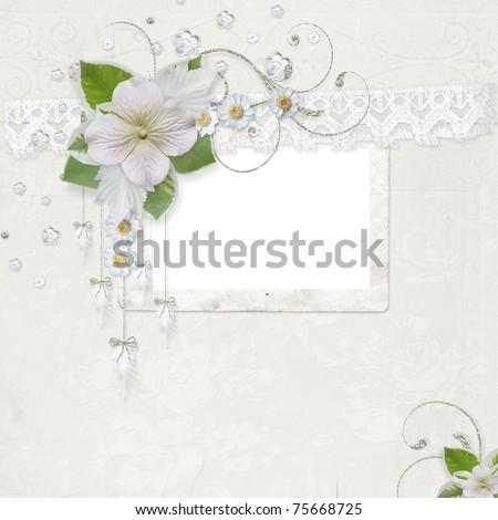 Elegance white frame for wedding or other photos - stock photo