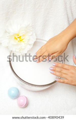 Elegance woman hands on spa treatment.