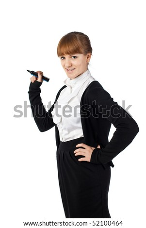 Elegance Woman with black marker - stock photo